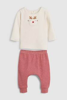 Reindeer Fleece Jumper And Red Leggings Set (0 Monate bis 2 Jahre)