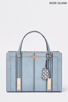 955c4183aa River Island Light Blue Geo Strapped Tote