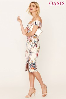 Oasis Natural Citrus Floral Bardot Pencil Dress