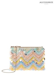 Accessorize Natural Holly Sequin Chevron Clutch Bag