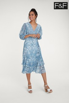 Niebieska, kopertowa sukienka F&F z wzorem paisley