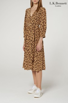 L.K.Bennett Animal Roman Print Wrap Dress