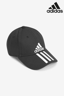 adidas Kids Black 3 Stripe Cap