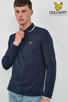 Lyle & Scott Navy Tipped Long Sleeve Polo