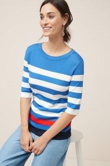 T-shirt girocollo in maglia a righe