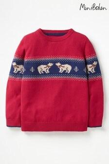 סוודר עליז עם דוגמה כפרית וצווארון עגול של Boden, בצבע אדום
