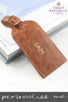 Personalised Natural Tan Foiled Leather Luggage Tag by Treat Republic
