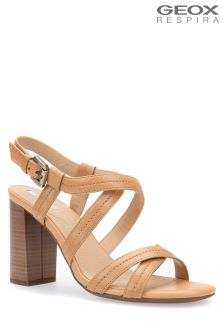 Geox Audalies High Tan Block Heeled Sandal