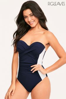 Figleaves Navy Santorini Halter Underwired Swimsuit