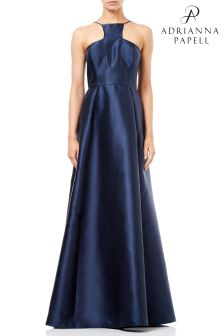 Adrianna Papell Blue  Mikado Long Dress