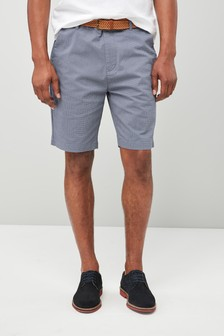 Ditsy Print Belted Chino Shorts