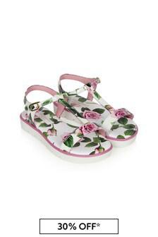 Dolce & Gabbana Kids Baby Girls Pink Leather Sandals