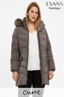 Evans Grey Chevron Padded Coat
