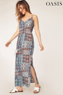 Oasis Multi Blue Tile Split Side Maxi Dress