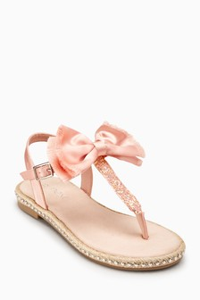 Satin Bow Toe Post Sandals (Older)