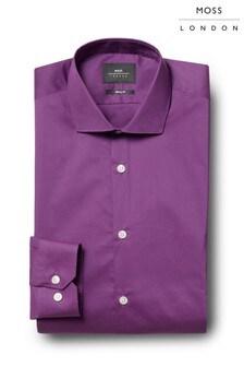 Moss London Skinny Fit Purple Single Cuff Stretch Shirt