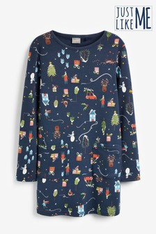 Kids Matching Family Christmas Long Sleeve Dress (3-16yrs)
