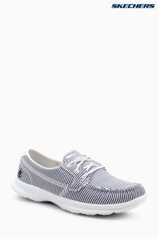 Skechers® Blue Go Step Sandy Navy White Textile Boat Shoe