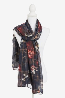 Navy Floral Metallic Check Lightweight Scarf