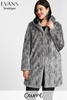 Evans Grey Faux Fur Coat