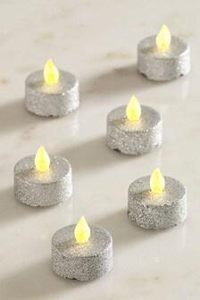 Set of 6 Glitter Tealight LED Candles