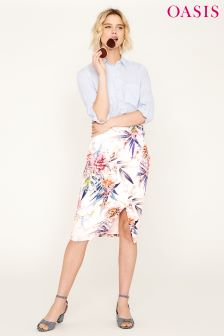 Oasis Natural Citrus Floral Pencil Skirt