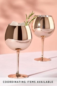 Set of 2 Metallic Rose Gold Effect Gin Glasses