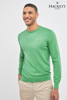 Hackett Green Cotton Silk Crew Sweater
