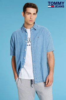 Tommy Jeans Blue Summer Back Print Denim Shirt