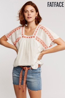 FatFace Natural Tayla Embroidered Top