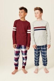 2 Pack Waffle Top Check Woven Pyjamas (3-16yrs)