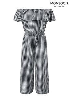 Monsoon Black Gigi Gingham Culotte Jumpsuit