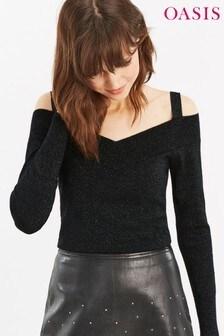 Oasis Black Ina Cold Shoulder Shirt