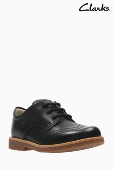 Clarks Black Leather Comet Heath Brogue Toddler Shoe