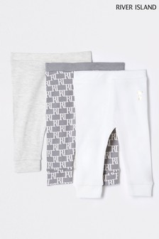 River Island Grey Dark Monogram Leggings Three Pack