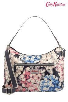 Cath Kidston® Grey Rhodedendrum Curve Shoulder Bag