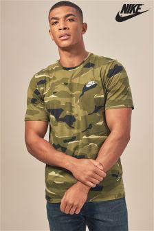 T-shirt Nike vert à imprimé camouflage