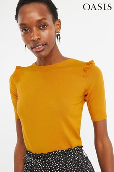 Oasis Yellow Frill Shoulder Jumper