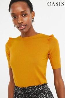 Oasis Yellow Frill Shoulder Jumper