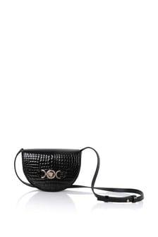 Girls Black & Gold Leather Shoulder Bag