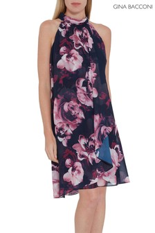 Gina Bacconi Blue Malka Floral Chiffon Dress