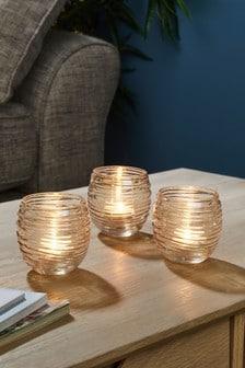 סט של 3 כוסות מזכוכית לנרות בעיצוב רסס