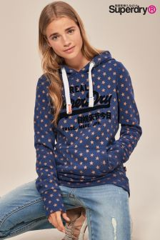 Superdry Logo All Over Star Print Hoody