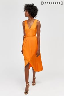 Warehouse Orange Asymmetric Wrap Midi Dress