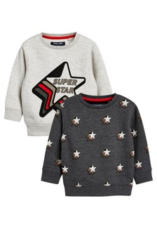 Star All Over Print Crews Two Pack (3mths-6yrs)