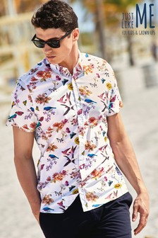 Short Sleeve Bird Print Shirt