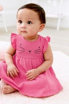 平織布荷葉袖洋裝 (0個月至2歲)