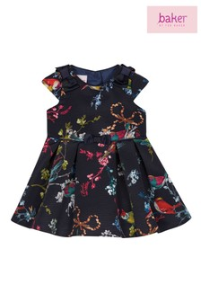 baker by Ted Baker Baby Girls Navy All Over Printed Dress