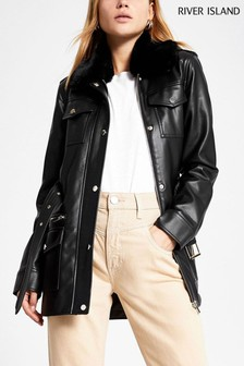 River Island Black Belted Faux Fur Collar Jacket