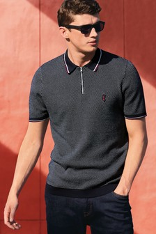Textured Zip Neck Polo